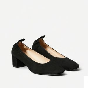 Everlane Black Suede Day Heels Round Toe 10.5